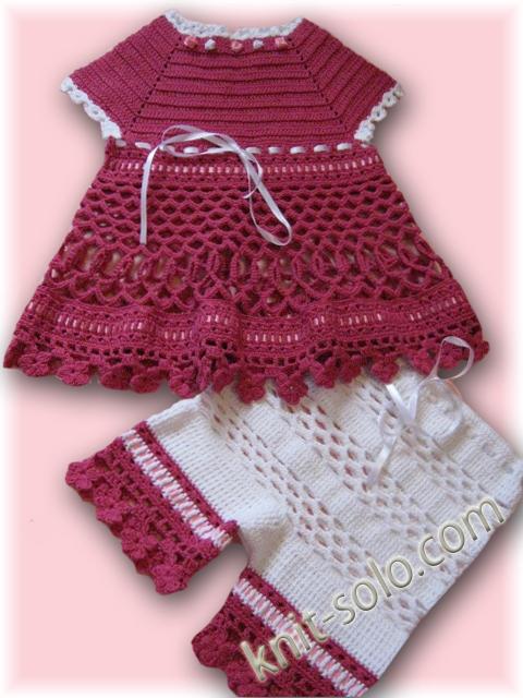 Вязаное крючком летнее платье для малышки