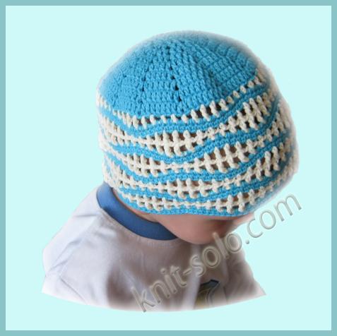 Вязаная крючком летняя шапочка для мальчика.