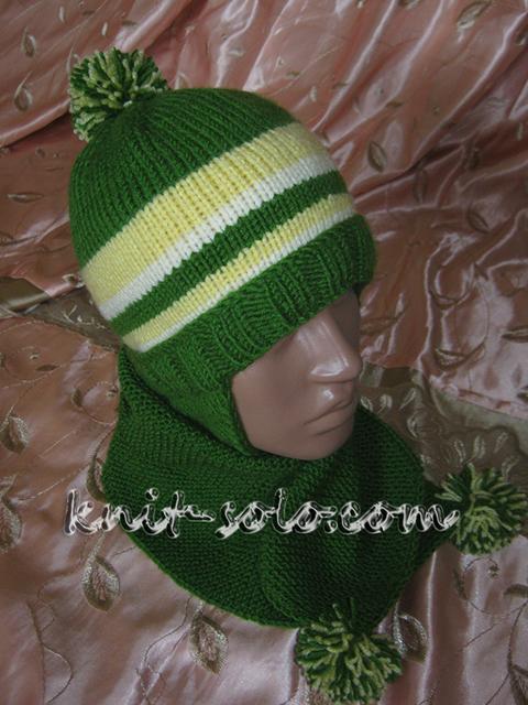Шапка и шарфик спицами - knit-solo.com